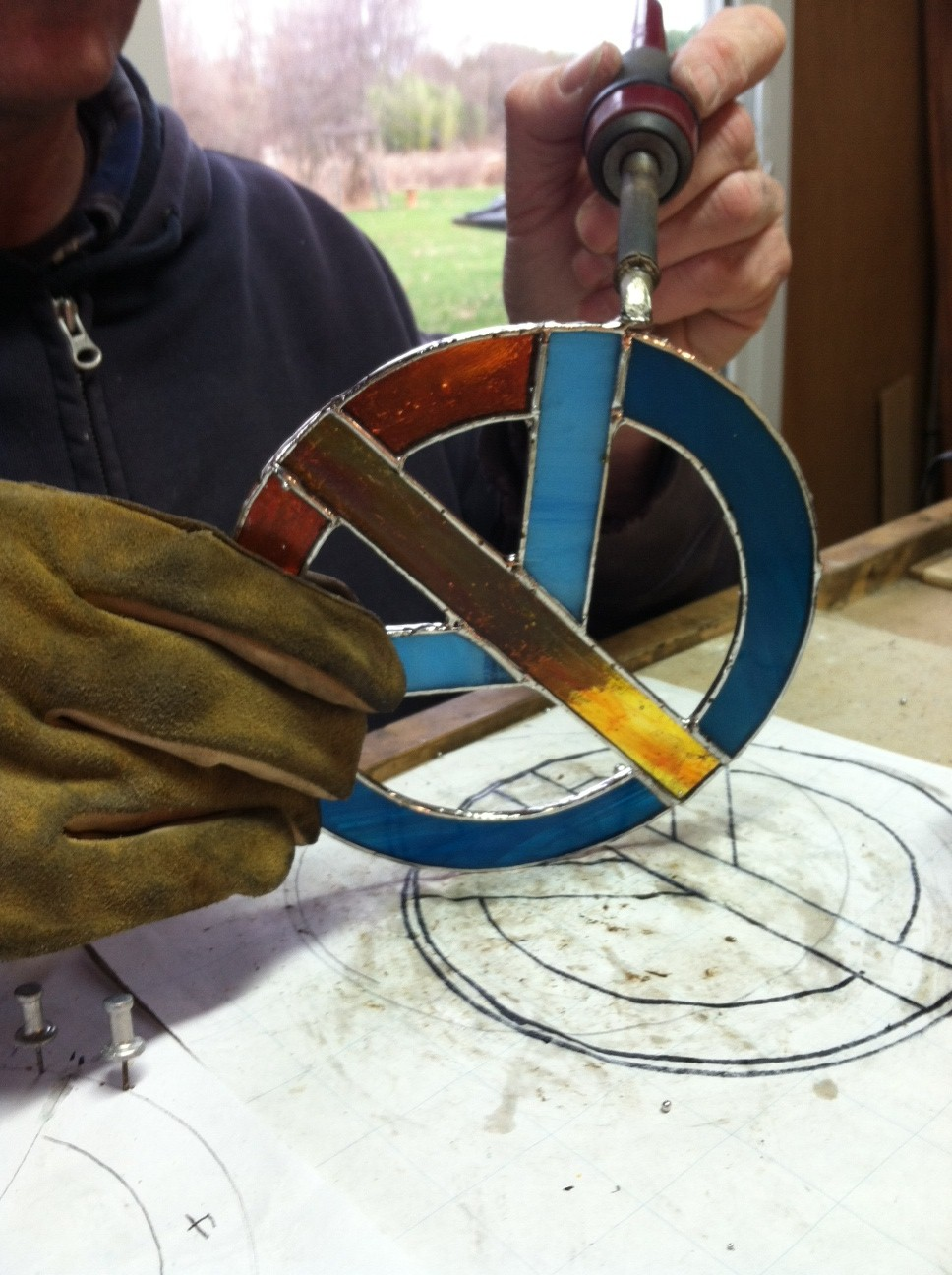 Stained Glass Peace Signs handmade here in New Hope PA!
