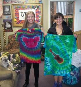 type b tie dye ross mill pig and tie dye guitar tee - great job ladies!