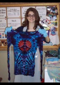 type b tie dye peace sign side spiral