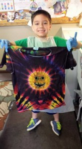 type b tie dye happy face