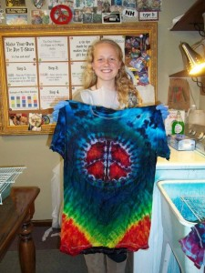 type b tie dye mountain high peace sign