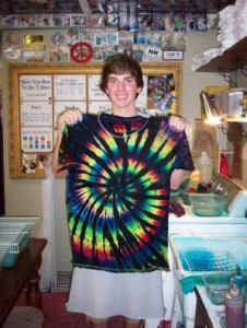 type b tie dye dark base rainbow center spiral