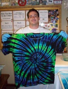 type b tie dye dark base center spiral