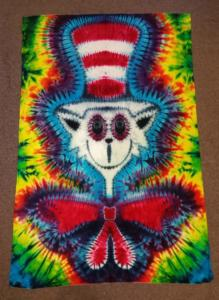 tie dye Cat in the Hat (i don't bother chasing mice around)