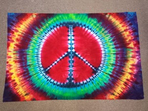 tie dye peace sign - red button